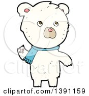 Clipart Of A Cartoon Polar Bear Wearing A Scarf Royalty Free Vector Illustration by lineartestpilot