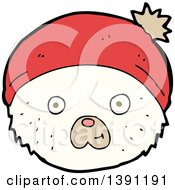 Clipart Of A Cartoon Polar Bear Wearing A Hat Royalty Free Vector Illustration by lineartestpilot