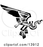 Flying Mayan Or Aztec Bird Design In Black And White Clipart Illustration