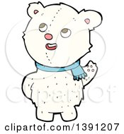 Clipart Of A Cartoon Teddy Polar Bear Wearing A Scarf Royalty Free Vector Illustration by lineartestpilot