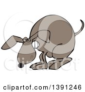 Cartoon Constipated Brown Dog Straining And Pooping