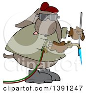 Clipart Of A Cartoon Industrial Brown Dog Welder Royalty Free Vector Illustration