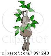 Cartoon Brown Dog Hanging From A Leafy Vine