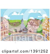 Clipart Of A Courtyard And Cute Little Town On A Sunny Day Royalty Free Vector Illustration