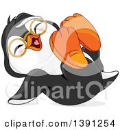 Clipart Of A Cute Happy Bespectacled Penguin Rolling On The Floor And Laughing Royalty Free Vector Illustration