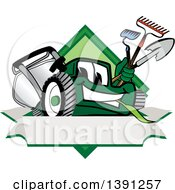 Clipart Of A Green Lawn Mower Mascot Character Holding Tools Over A Blank Label Royalty Free Vector Illustration