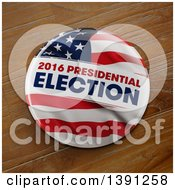 Clipart Of A 3d 2016 Presidential Election Political Button Pin Over Wood Royalty Free Illustration by stockillustrations