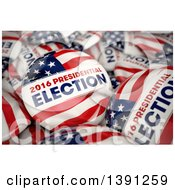 Clipart Of 3d 2016 Presidential Election Political Button Pins In A Box Royalty Free Illustration