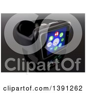 Clipart Of A 3d Black Smart Watch With Application Icons On Reflective Black Royalty Free Vector Illustration