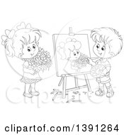 Clipart Of A Cartoon Black And White Lineart Artist Boy Painting A Portrait Of A Girl Holding Flowers Royalty Free Vector Illustration by Alex Bannykh