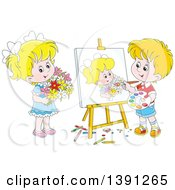 Clipart Of A Cartoon Blond White Artist Boy Painting A Portrait Of A Girl Holding Flowers Royalty Free Vector Illustration