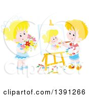 Clipart Of A Cartoon Blond Caucasian Artist Boy Painting A Portrait Of A Girl Holding Flowers Royalty Free Vector Illustration by Alex Bannykh
