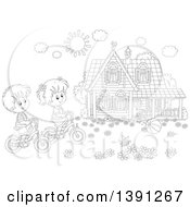 Clipart Of A Cartoon Black And White Lineart Boy And Girl Riding Bikes In Front Of Their Home On A Spring Day Royalty Free Vector Illustration