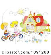 Clipart Of A Cartoon White Boy And Girl Riding Bikes In Front Of Their Home On A Spring Day Royalty Free Vector Illustration by Alex Bannykh