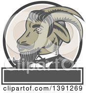 Clipart Of A Retro Woodcut Ram Goat In A Tuxedo In A Circle Over A Blan Rectangle Royalty Free Vector Illustration by patrimonio