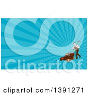 Clipart Of A Retro Woodcut Male Landscaper Carrying A Rake And Pushing A Lawn Mower And Blue Rays Background Or Business Card Design Royalty Free Illustration