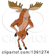 Clipart Of A Cartoon Muscular Moose Man Standing Upright With Hands On His Hips Royalty Free Vector Illustration