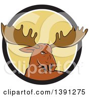 Clipart Of A Cartoon Moose Head Emerging From A Black White And Yellow Circle Royalty Free Vector Illustration by patrimonio