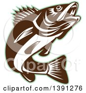 Clipart Of A Retro Brown And White Walleye Fish Jumping With A Green Outline Royalty Free Vector Illustration
