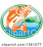 Clipart Of A Retro Orange And White Walleye Fish Jumping In An Oval With A Lake Front Cabin Royalty Free Vector Illustration