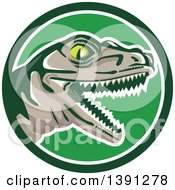 Clipart Of A Retro Lizard Rator Or Tyrannosaurus Rex Head In A Green And White Circle Royalty Free Vector Illustration by patrimonio