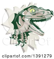 Clipart Of A Retro Lizard Rator Or Tyrannosaurus Rex Breaking Through A Wall Royalty Free Vector Illustration