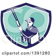 Clipart Of A Retro Male Hunter Holding A Shotgun In A Blue White And Turquoise Shield Royalty Free Vector Illustration by patrimonio