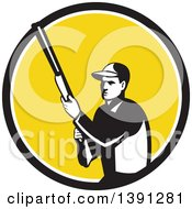Retro Male Hunter Holding A Shotgun In A Black White And Yellow Circle