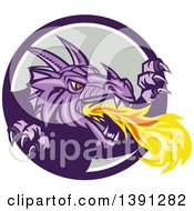 Clipart Of A Retro Fire Breathing Dragon Emerging From A Purple White And Gray Circle Royalty Free Vector Illustration