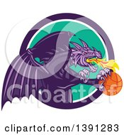 Clipart Of A Retro Purple Fire Breathing Dragon Flying With A Basketball And Emerging From A Circle Royalty Free Vector Illustration by patrimonio