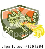 Clipart Of A Retro Fire Breathing Dragon Emerging From A Green White And Shield Royalty Free Vector Illustration