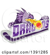 Clipart Of A Retro Purple Fire Breathing Dragon Over Text A Puck And Hockey Stick Royalty Free Vector Illustration