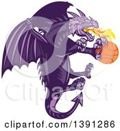 Clipart Of A Retro Purple Fire Breathing Dragon Flying With A Basketball Royalty Free Vector Illustration by patrimonio