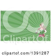 Watercolor Styled Retro Victorian Beer Maiden Holding A Mug And Green Rays Background Or Business Card Design