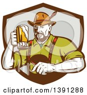 Clipart Of A Retro German Man Wearing Lederhosen And Raising A Beer Mug For A Toast Emerging From A Brown And Gray Shield Royalty Free Vector Illustration