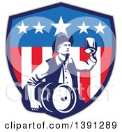Clipart Of A Retro American Patriot Man Carrying A Beer Keg And Holding Up A Mug In An American Shield Royalty Free Vector Illustration