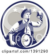 Clipart Of A Retro American Patriot Man Carrying A Beer Keg And Holding Up A Mug In A Blue White And Taupe Circle Royalty Free Vector Illustration