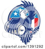 Clipart Of A Retro Bald Eagle Holding A Beer Keg And Emerging From An American Circle Royalty Free Vector Illustration