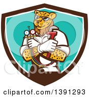 Clipart Of A Cartoon Refrigeration And Air Conditioning Mechanic Leopard Holding A Pressure Temperature Gauge And Monkey Wrench In A Shield Royalty Free Vector Illustration