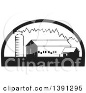 Clipart Of A Black And White Silo Barn And Shed In A Half Circle Royalty Free Vector Illustration by patrimonio