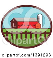 Clipart Of A Silo Barn And Shed In An Oval Royalty Free Vector Illustration