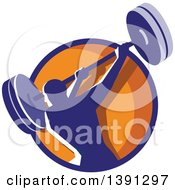 Clipart Of A Retro Male Bodybuilder Swinging A Barbell In A Blue And Orange Circle Royalty Free Vector Illustration