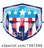 Clipart Of A Retro Male Bodybuilder Holding A Heavy Barbell Over His Head In An American Shield Royalty Free Vector Illustration