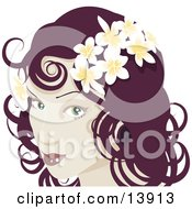 Pretty Red Haired Woman Wearing Frangipani Flowers In Her Hair