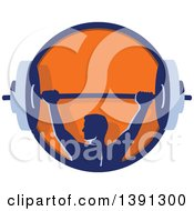 Clipart Of A Retro Male Bodybuilder Holding A Heavy Barbell Over His Head In A Blue And Orange Circle Royalty Free Vector Illustration