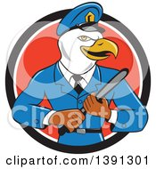 Clipart Of A Cartoon Bald Eagle Police Officer Man Holding A Baton In A Black White And Red Circle Royalty Free Vector Illustration by patrimonio