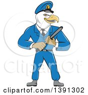 Clipart Of A Cartoon Bald Eagle Police Officer Man Holding A Baton Royalty Free Vector Illustration
