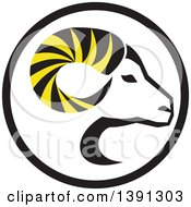 Clipart Of A Retro Profiled Dall Sheep Ram Head With Curling Horns In A Circle Royalty Free Vector Illustration