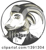 Clipart Of A Sketched Retro Ram Goat In A Tuxedo In A Circle Royalty Free Vector Illustration