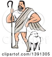 Clipart Of A Cartoon Muscular Super Hero Shepherd Standing Over A Sheep Royalty Free Vector Illustration by patrimonio